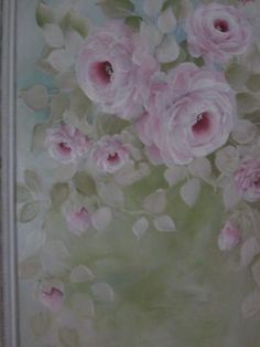 Vintage vanity tray repainted with pretty trailing pink roses....by Karen Fleming