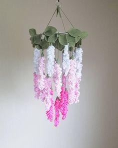 Original Pink Wisteria Felt Flower Mobile, Chandelier, Crib Mobile for Baby Girl Paper Flowers Diy, Fake Flowers, Flower Crafts, Fabric Flowers, Gold Nursery Decor, Floral Nursery, Felt Crafts, Diy And Crafts, Paper Crafts