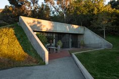 Steve Martin's bunker-like Santa Barbara home is made entirely of concrete and was inspired by freeways. It's partly underground.
