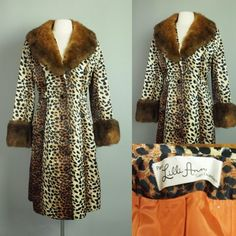 Vtg Lilli Ann Coat Leopard Print Princess Dress Jacket with Real Opossum Fur M | eBay
