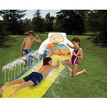 Wham-o Slip Slide Splash Dunk by Wham-o. $19.86. Includes Slip 'N Slide Splash Dunk Slide and Basketball, Inflatable backboard and basketball hoop, anchors and repair patches. 16 feet slide. Inflatable Basketball included. Wall of water on bumper, easy set-up, connect and go. From the Manufacturer                Wham-O Slip 'N Slide Splash Dunk. Slip, Slide, Splash and Dunk.                                    Product Description                16 foot slide includes inflatab...