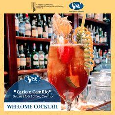 """Il Grand Hotel Sitea ha dedicato il suo cocktail a due personaggi legati a Torino: """"Carlo e Camillo"""" è il cocktail di oggi, servito nel bicchiere Tulipano!  Ingredienti:  4 cl Vermouth Anselmo Riserva 3 cl Rabarbaro Zucca 2 cl liquore banana 2 cl Amaretto di Saronno 1/2 lime spremuto  Colmare con soda water. Shake and straight.  Come decorarlo? Vi consigliamo uno spiedino di frutta, una spirale di lime e una di arancia!  Bevi responsabilmente, scegli la qualità!"""