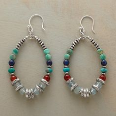 """GITANE HOOP EARRINGS -- The design of these gemstone and silver disk hoop earrings features dramatic hoops, accenting turquoise, carnelian, lapis and aquamarine with sterling silver beads and disks. Sterling silver earwires. Exclusive. 2-1/4""""L."""