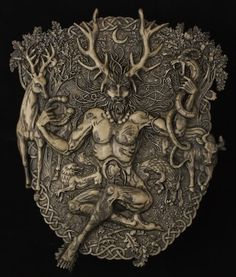 Cernunnos is a horned god associated with fertility, the underworld, and wealth, and especially associated with horned animals like the bull, stag, and a ram-headed serpent. Cerunnos is born at the winter solstice and dies at the summer solstice.