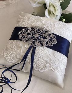 Navy Wedding Ring Pillow, Lace Wedding Ring Pillow, Lace Ring Pillow, Elegant Ring Pillow, Ring B. Elegant Wedding Rings, Silver Wedding Rings, Lace Wedding, Silver Ring, Wedding Band, Ring Bearer Pillows, Ring Pillows, Wedding Pillows, Ring Pillow Wedding