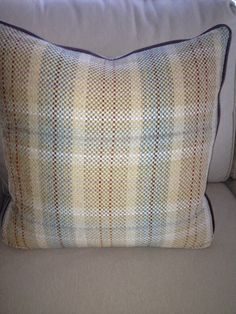 """Camel and blue plaid cotton blend 20x20"""" pillow cover with brown leather welting and hidden zipper.$45.00 www.kellydesignsofCT.com"""