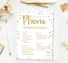 Bridal Shower Games What's on Your Phone Game by JoyPribishDesigns