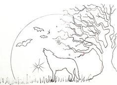 Halloween moon traceable #angelafineart