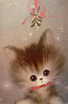 60s Norcross Kitty Cat Under Mistletoe-Vintage Christmas Card-Greeting