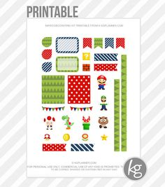 Mario Decorating Kit PDF PRINTABLE Planner Stickers for Erin Condren Planner, Filofax, Plum Paper