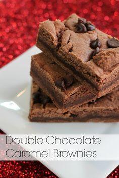 double chocolate caramel brownies