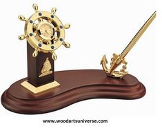 Upto 65% off Nautical  Anchor Pen Stand With Ship Wheel Clock WASCBG0070  b  #sale http://woodartsuniverse.com/catalog/product_info.php?products_id=607