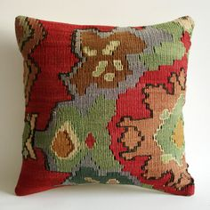 These beautiful pillows are created by using the hand-woven remnants of old kilim rugs. Isn't this exquisite?