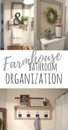 farmhouse bathroom organization. Farmhouse bathroom decor. Bathroom storage