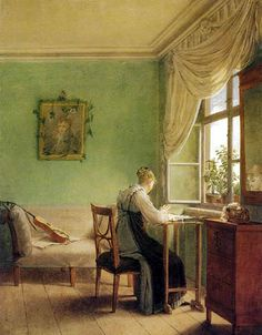 Georg Friedrich Kersting (1785-1847) German paintor, specialized in depictions of domestic life. Gentel scenes of quiet activity, singel figure absorbed in concentration, in simple surrounding, generely viewed from behind.