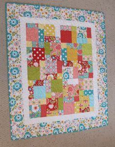 """Sale Apple of My Eye Baby or Toddler Girl Quilt--38"""" x 46"""". $105.00, via Etsy."""