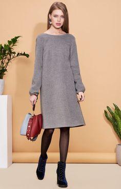 Утепленное платье-колокол с асимметричным подолом TOP20 Studio / 2000001027080-1