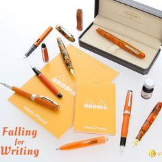 Celebrate with us! #FirstDayofFall #orange #edisonpen #sailorpen #conklin #kaweco #rhodia #lamy #laban #aurorapen #fallinlove by goldspotpens