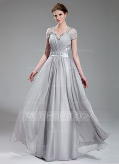 A-Line/Princess V-neck Floor-Length Chiffon Charmeuse Lace Evening Dress With Ruffle Beading (017019722) - JJsHouse