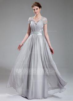 A-Line/Princess V-neck Floor-Length Chiffon Charmeuse Lace Evening Dress With Ruffle Beading (017019722) - JJsHouse