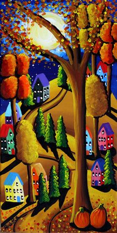 Fall Night Full Moon Landscape Houses Trees by reniebritenbucher, $119.00