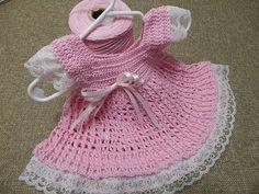 VESTIDO DE BEBE 0 MESES ENCAJE CROCHET PASO A PASO CON VIDEO | Patrones Crochet, Manualidades y Reciclado