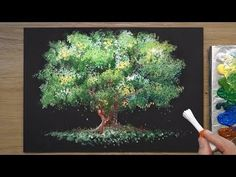 Acrylmalerei und Aquarell How to Paint a Tree in Acrylic Acrylic Painting acrylic acrylic painting Acrylmalerei Aquarell Paint tree und Acrylic Painting Trees, Q Tip Painting, Acrylic Painting For Beginners, Simple Acrylic Paintings, Acrylic Painting Techniques, Beginner Painting, Painting Videos, Watercolor Artists, Tree Art