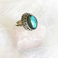 Saeran - Fiery Labradorite & Sterling Silver Ring – Druzy Dreams
