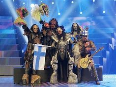 Monster rock band Lordi of Finland celebrate their victury at conclusion of the finals of the 2006 Eurovision Song Contest May 2006 in Athens, Greece. Music Clips, Music Bands, Junior Eurovision, Monster Rocks, Black Angels, Rehearsal Dress, Music Composers, Alternative Music, Athens Greece