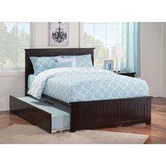 Atlantic Nantucket Bed with Matching Foot Board with Urban Trundle Bed in Espresso
