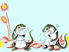 El lagarto y la lagarta con delantalitos blancos.