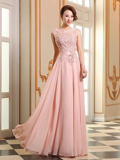 Prom / Formal Evening Dress - Lace-up A-line Jewel Floor-length Georgette with Appliques / Beading / Pearl Detailing - USD $79.99