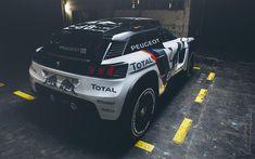 Download wallpapers Peugeot 3008 DKR, rally car, 2018, Dakar Rally, garage, Peugeot, Total