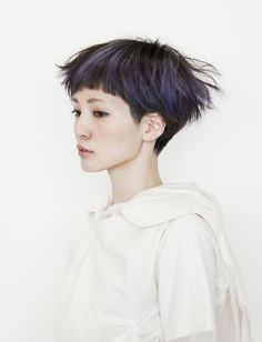 Cut messy purple short hair