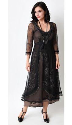 Nataya 1930s Black Tulle Downton Abbey Tea Party Dress