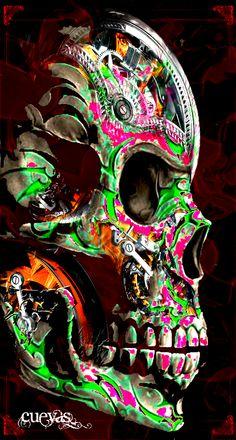 Now framed in my studio, a killer skull I designed ago based on others' creative input Pink Skull, Sugar Skull Art, Dark Fantasy Art, Dark Art, Grim Reaper Art, Skull Wallpaper, Scary Wallpaper, Skull Pictures, Day Of The Dead Art