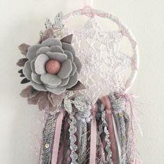 Felt flower dreamcatcher floral dreamcatcher by wiltedrosewreaths