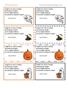 Halloween Homework passes....free to print and give to the students for halloween (instead of candy)
