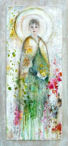 Guardian of Dusk : mixed media painting by Laly Mille