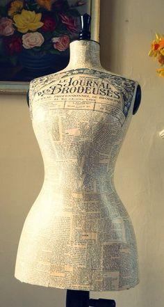 decouopaged newsprint vintage french dress form