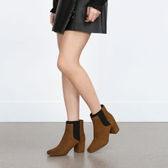 Image 2 of ELASTICATED HIGH HEEL LEATHER ANKLE BOOTS from Zara