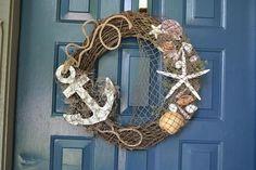 Texas Coastal Wreath by UniqueGiftsbyMarilyn on Etsy Coastal Wreath, Seashell Wreath, Nautical Wreath, Seashell Crafts, Beach Crafts, Coastal Decor, Diy And Crafts, Beach Wreaths, Nautical Rope