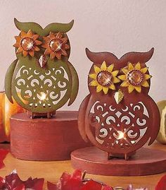 Owl-Tealight-Holder-2-Ea-Fall-Harvest-Thanksgiving-Table-Decorations-Home-Decor