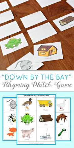 Teaching kids to rhyme is a great way to improve reading skills. Heres a fun preschool learning activity and free printable game based on the popular kids song Down By the Bay. Rhyming Preschool, Rhyming Activities, Preschool Learning Activities, Preschool Printables, Teaching Kids, Kids Learning, Free Printables, Preschool Lessons, Preschool Ideas