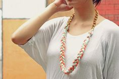 Easy DIY Two-tone Pleated Necklace