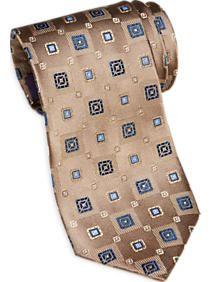 Burma Bibas Taupe & Blue Geometric Narrow Tie