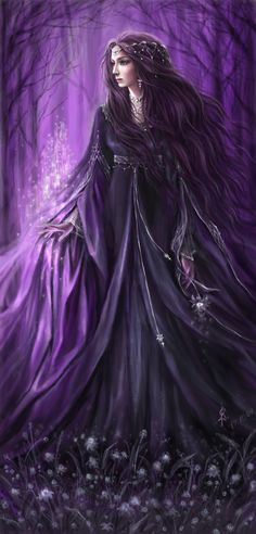 Magick Wicca Witch Witchcraft:  Making Magick in a lilac-shadowed wood.