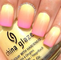 Pink and yellow ombre nails.