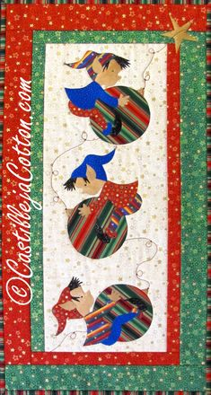 Holiday Elves Wall Hanging Elves At Play Quilt by castillejacotton, $69.00.  This might also look really cute with just the ornaments, then gold thread to link them together.  Hmmm.....