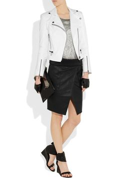 Karl by Karl Lagerfeld Faux Leather Skirt.     I am SO getting this.